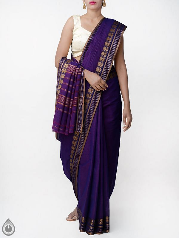 Online Shopping for Purple Pure Narayanpet Cotton Saree with Thread Woven Border with Weaving from Andhra Pradesh at Unnatisilks.comIndia