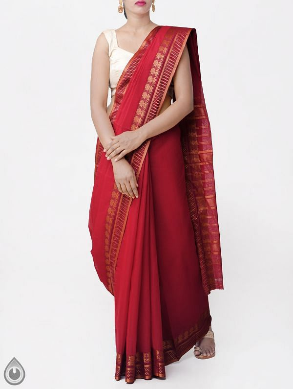 Online Shopping for Red Pure Narayanpet Cotton Saree with Thread Woven Border with Weaving from Andhra Pradesh at Unnatisilks.comIndia