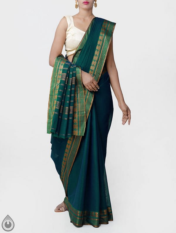 Online Shopping for Green Pure Narayanpet Cotton Saree with Thread Woven Border with Weaving from Andhra Pradesh at Unnatisilks.comIndia