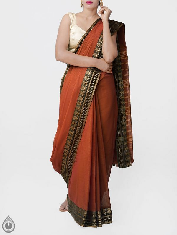 Online Shopping for Brown-Yellow Pure Narayanpet Cotton Saree with Thread Woven Border with Weaving from Andhra Pradesh at Unnatisilks.comIndia