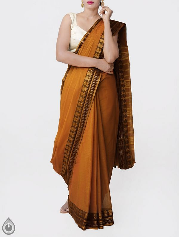Online Shopping for Yellow Pure Narayanpet Cotton Saree with Thread Woven Border with Weaving from Andhra Pradesh at Unnatisilks.comIndia