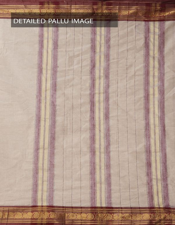 Online Shopping for Brown Pure Narayanpet Cotton Saree with Peacock Border with Weaving from Andhra Pradesh at Unnatisilks.comIndia