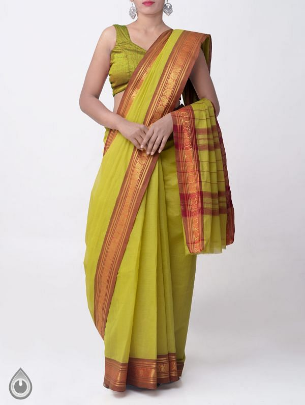 Online Shopping for Green Pure Narayanpet Cotton Saree with Peacock Border with Weaving from Andhra Pradesh at Unnatisilks.comIndia