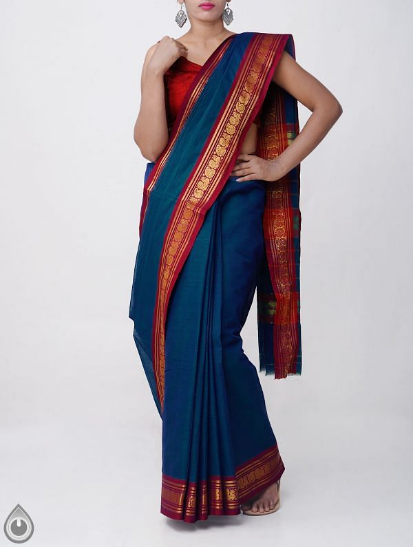 Online Shopping for Blue Pure Narayanpet Cotton Saree with Peacock Border with Weaving from Andhra Pradesh at Unnatisilks.comIndia