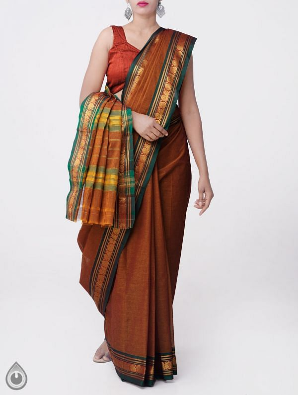 Online Shopping for Orange Pure Narayanpet Cotton Saree with Peacock Border with Weaving from Andhra Pradesh at Unnatisilks.comIndia