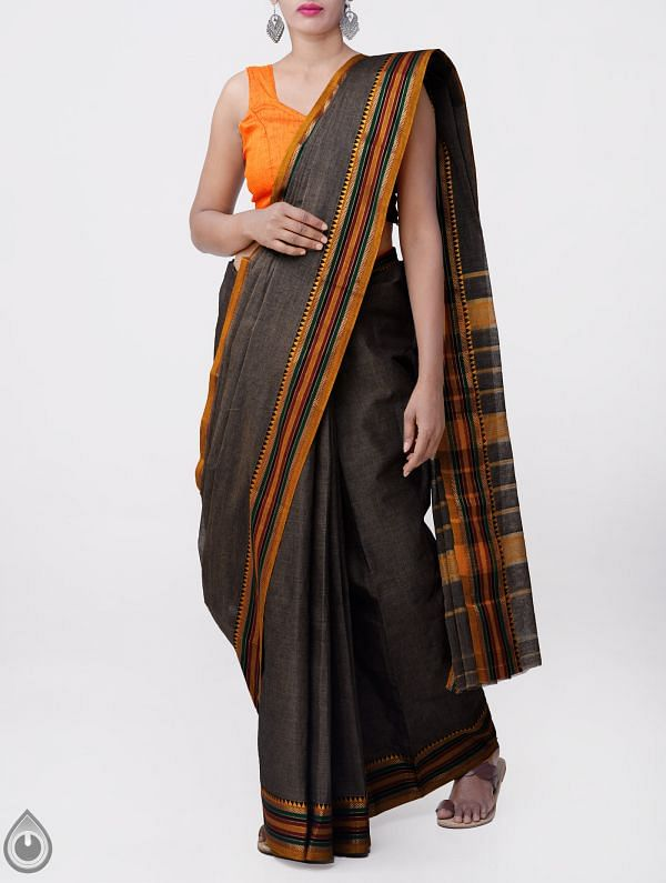 Online Shopping for Grey Pure Narayanpet Cotton Saree with Weaving from Andhra Pradesh at Unnatisilks.comIndia