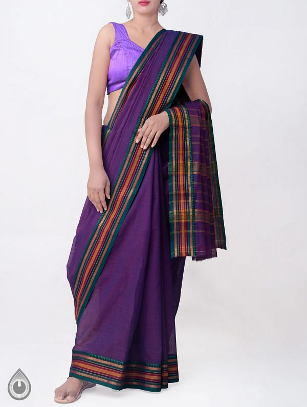 Online Shopping for Violet Pure Narayanpet Cotton Saree with Weaving from Andhra Pradesh at Unnatisilks.comIndia