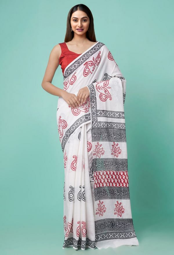 Online Shopping for White Pure Rajasthani Malmal Cotton Saree with Hand Block Prints with Hand Block Prints from Rajasthan at Unnatisilks.comIndia