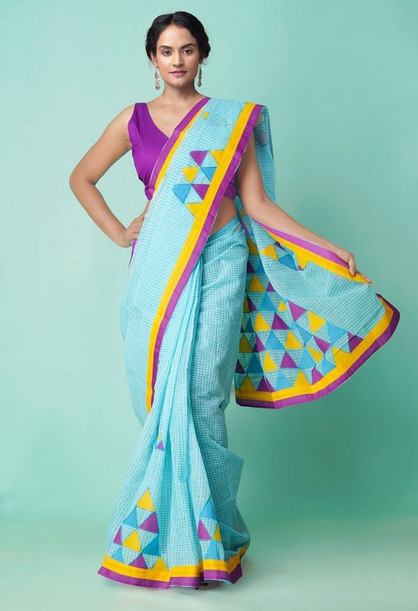 Online Shopping for Blue and White Pure Bengal Tant Cotton Saree with Applique Work from West Bengal at Unnatisilks.comIndia
