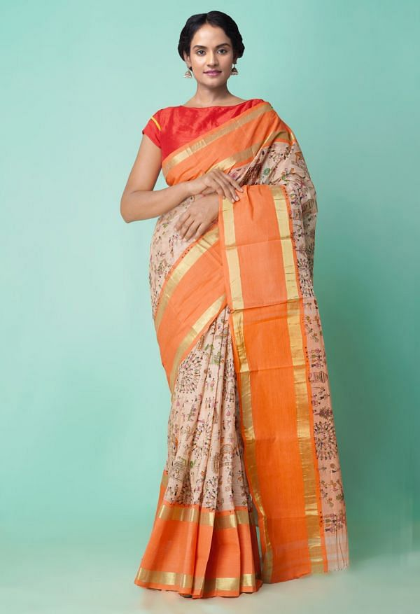 Online Shopping for Brown Pure Handloom Bengal Cotton Tant Saree with Lepakshi Prints with Lepakshi Prints from West Bengal at Unnatisilks.comIndia