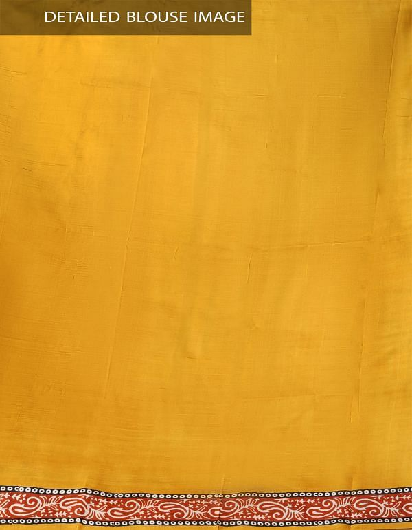 Yellow and Red Pure Handloom Tussar Silk Saree with Block Prints