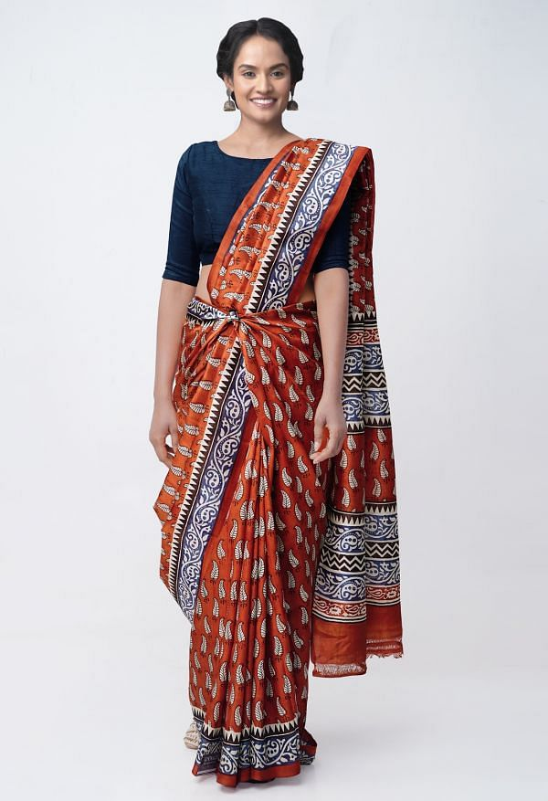 Online Shopping for Orange Pure Handloom Tussar Silk Saree with Block Prints with Fancy Block Prints from Chattisgarh at Unnatisilks.comIndia