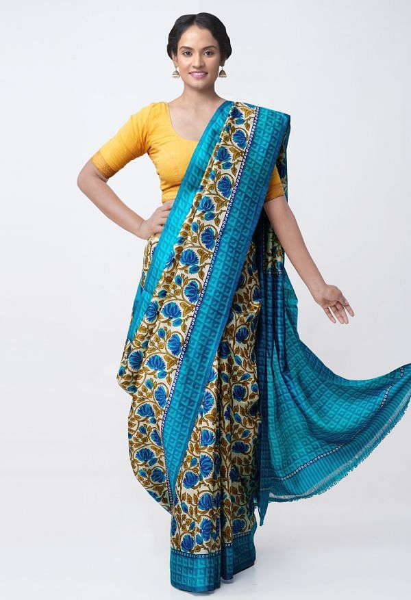 Online Shopping for Cream Pure Handloom Tussar Silk Saree with Block Prints with Fancy Block Prints from Chattisgarh at Unnatisilks.comIndia