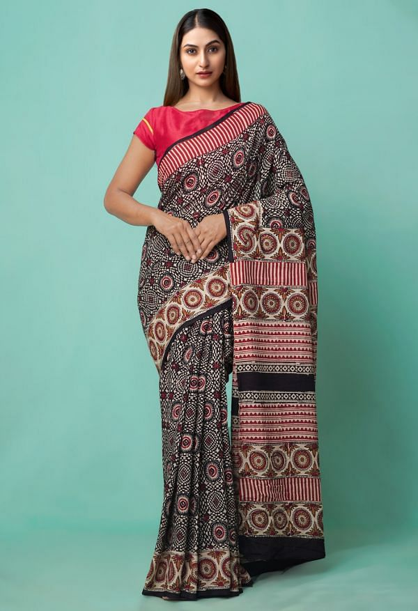 Online Shopping for Black Super Fine Pure Mulmul Cotton Saree with Bagru Prints with Batik Prints from Bihar at Unnatisilks.comIndia