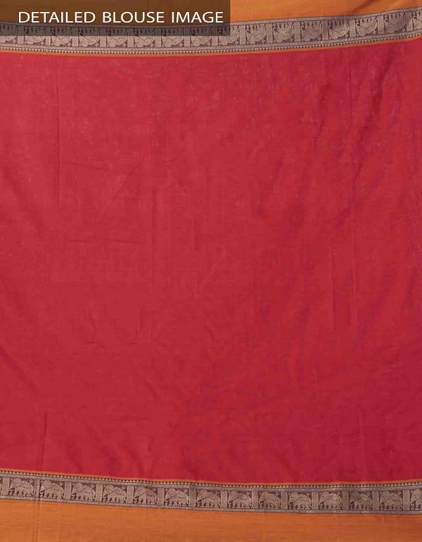 Red Pure Handloom Narayanpet Cotton Saree with Tassels-UNM37513
