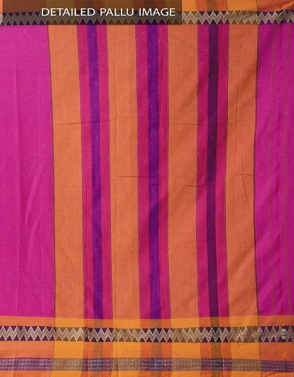Pink Pure Handloom Narayanpet Cotton Saree with Tassels-UNM37524