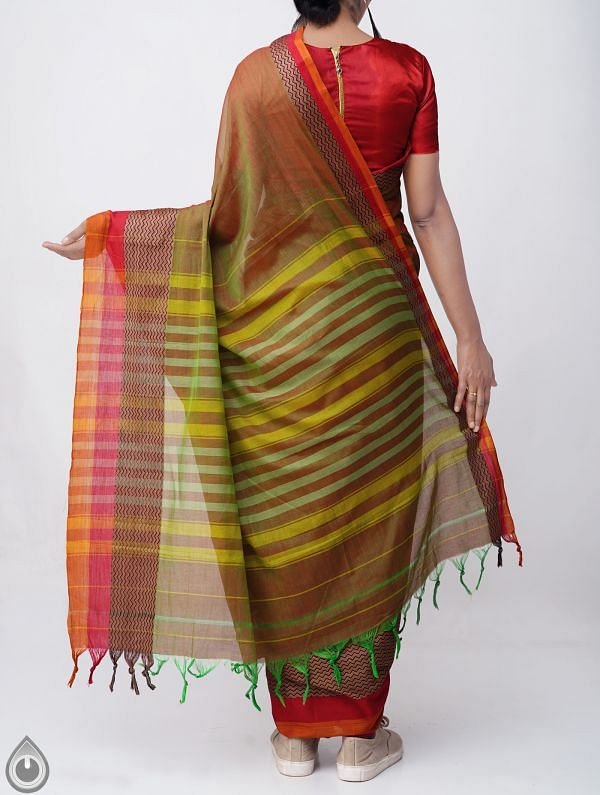 Green-Red Pure Handloom Narayanpet Cotton Saree with Tassels-UNM37533