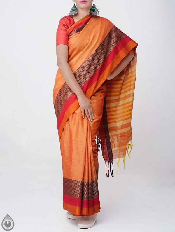 Orange Pure Handloom Narayanpet Cotton Saree with Tassels-UNM37541