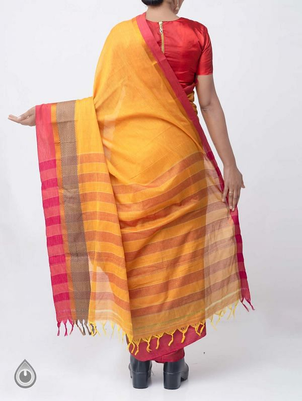 Yellow Pure Handloom Narayanpet Cotton Saree with Tassels-UNM37546