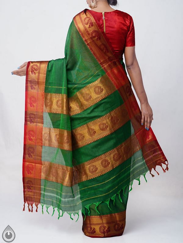 Green Pure Handloom Narayanpet Cotton Saree with Tassels-UNM37550