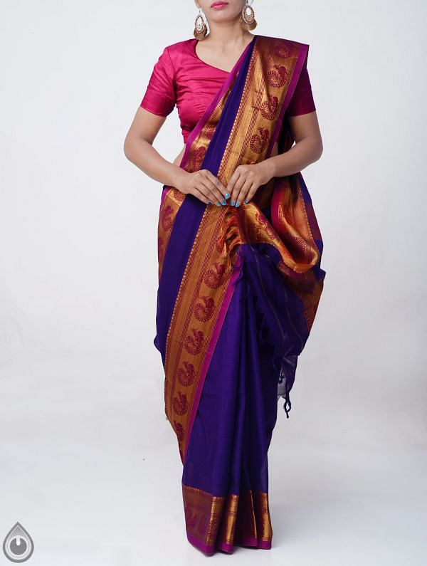 Violet Pure Handloom Narayanpet Cotton Saree with Tassels-UNM37551