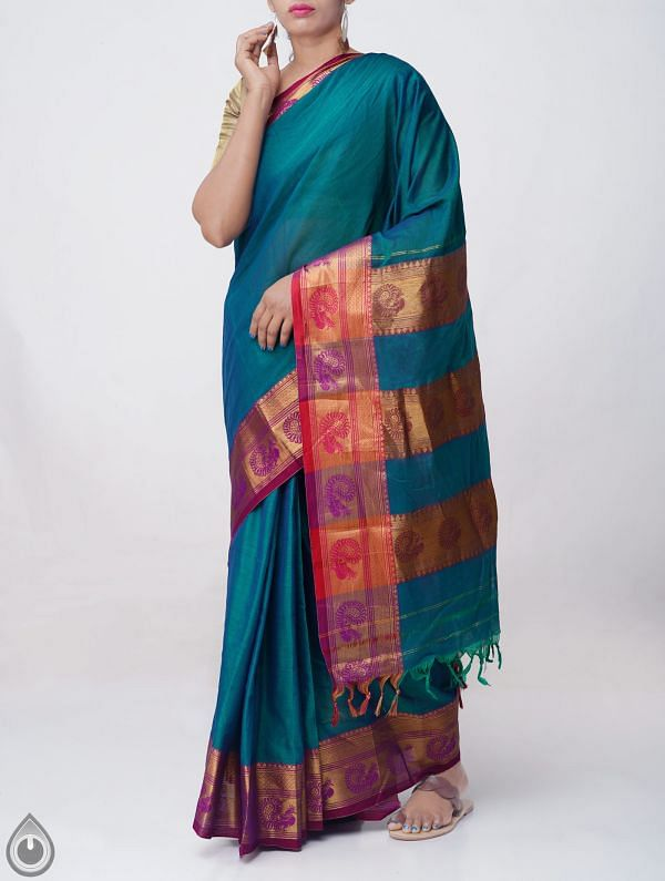 Online Shopping for Green-Blue Pure Handloom Narayanpet Cotton Saree with Tassels with Weaving from  Andhra Pradesh at Unnatisilks.comIndia