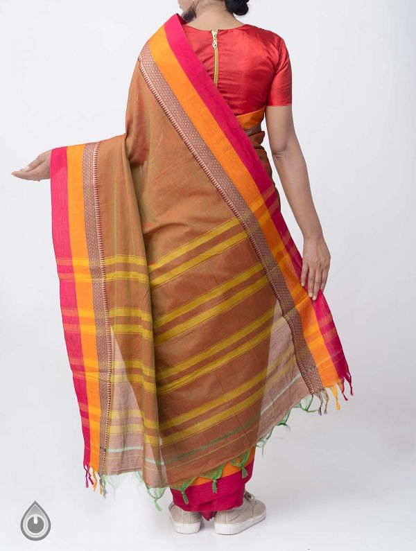 Green-Red Pure Handloom Narayanpet Cotton Saree with Tassels