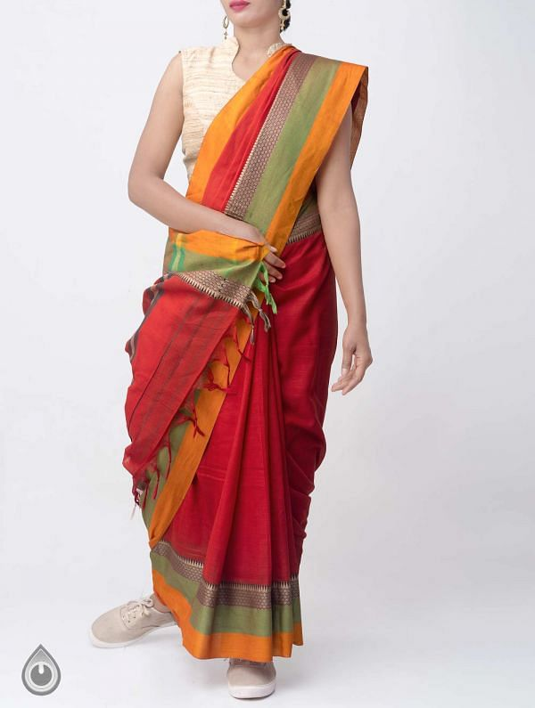 Red Pure Handloom Narayanpet Cotton Saree with Tassels