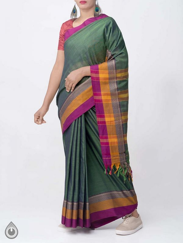 Green Pure Handloom Narayanpet Cotton Saree with Tassels-UNM37559