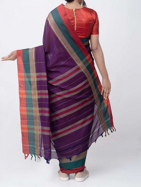 Violet Pure Handloom Narayanpet Cotton Saree with Tassels
