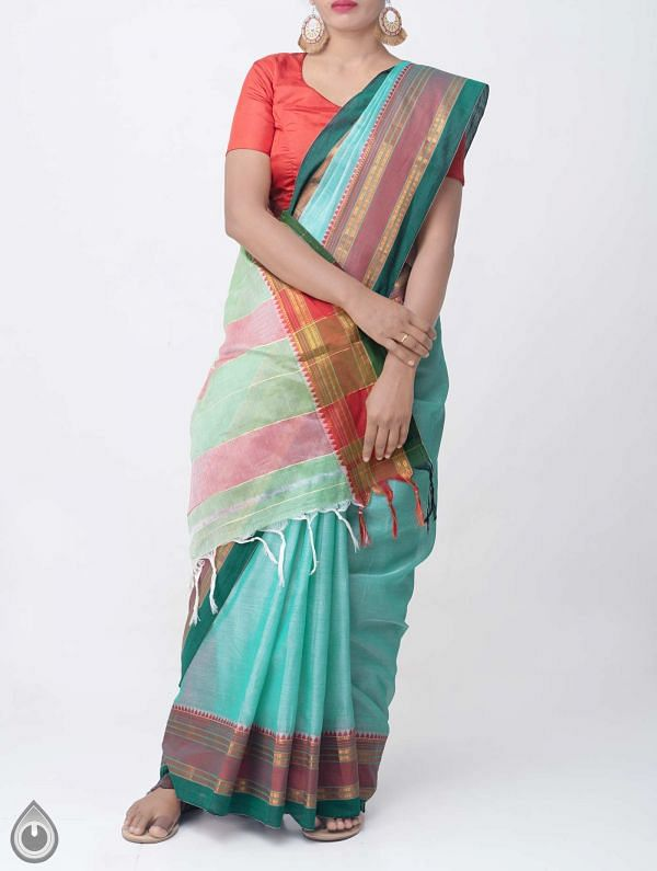 Turquoise Blue Pure Handloom Narayanpet Cotton Saree with Tassels-UNM37574