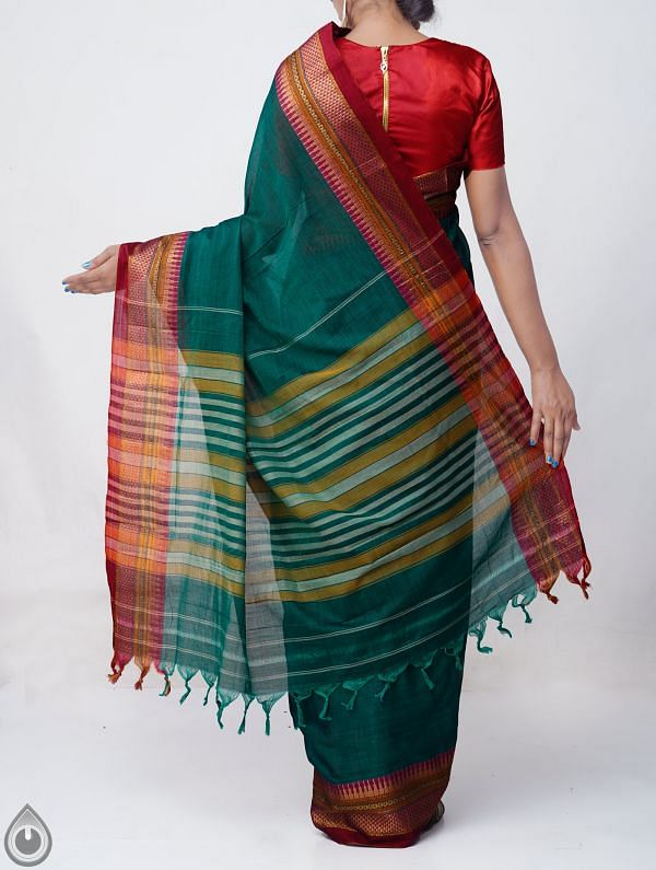 Green Pure Handloom Narayanpet Cotton Saree with Tassels-UNM37576