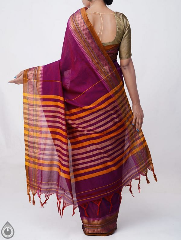 Purple Pure Handloom Narayanpet Cotton Saree with Tassels-UNM37581