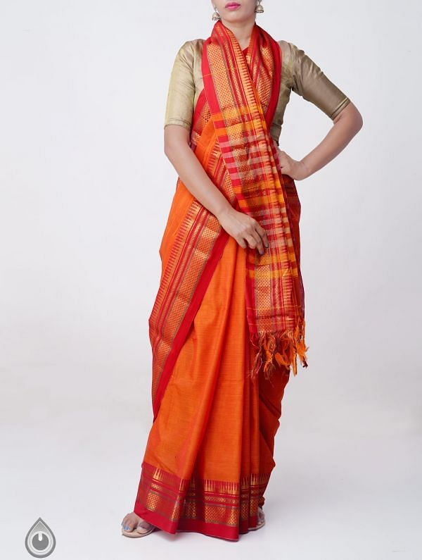 Orange Pure Handloom Narayanpet Cotton Saree with Tassels-UNM37583
