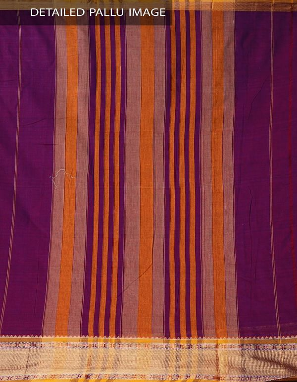 Purple Pure Handloom Narayanpet Cotton Saree with Tassels-UNM37596