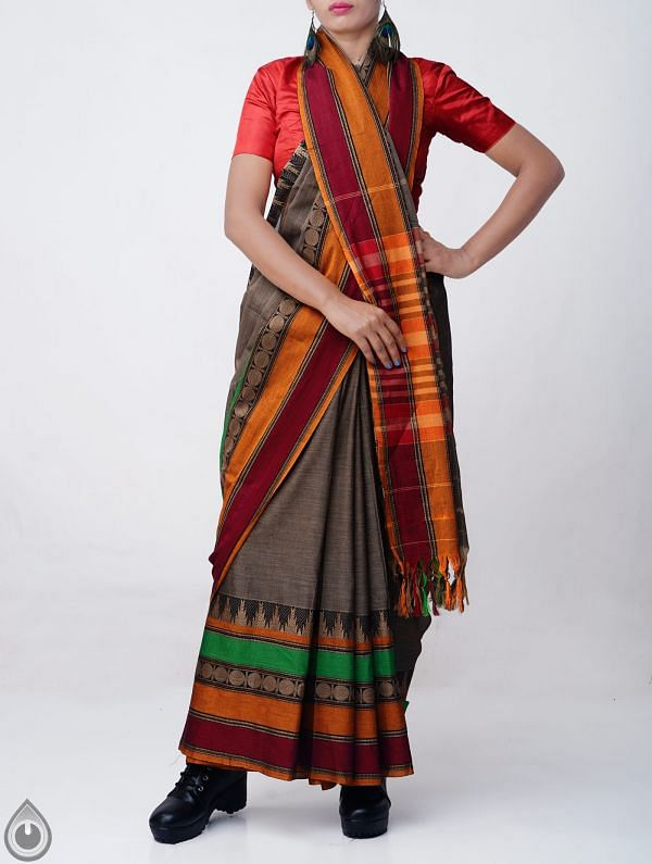 Grey Pure Handloom Narayanpet Cotton Saree with Tassels-UNM37609