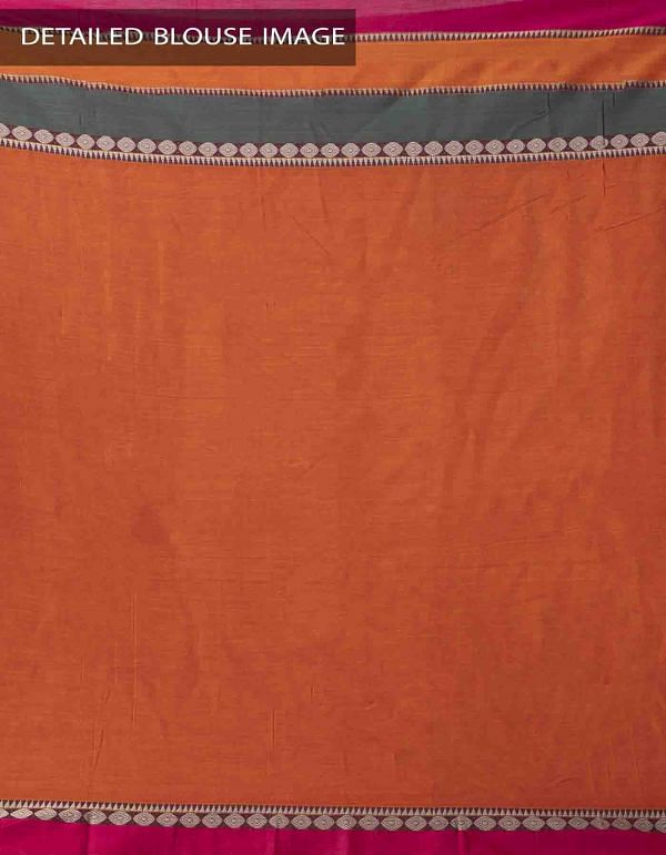 Orange Pure Handloom Narayanpet Cotton Saree with Tassels-UNM37615