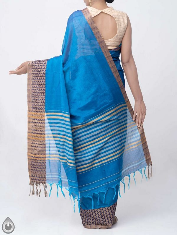 Blue Pure Handloom Narayanpet Cotton Saree with Tassels