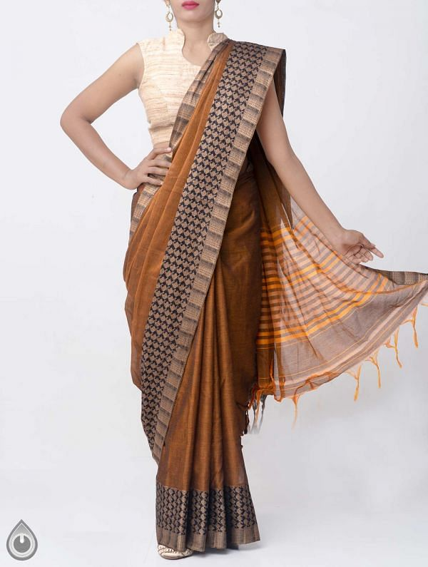 Orange Pure Handloom Narayanpet Cotton Saree with Tassels-UNM37628
