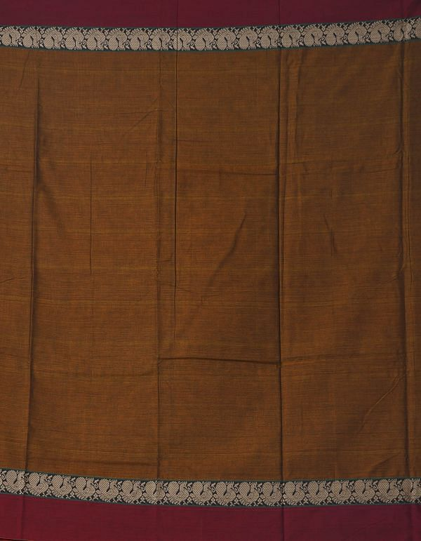 Online Shopping for Brown Pure Handloom Narayanpet Cotton Saree with Tassels with Weaving from Andhra Pradesh at Unnatisilks.comIndia