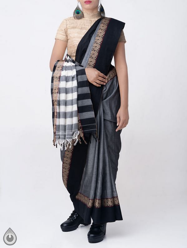 Online Shopping for Grey Pure Handloom Narayanpet Cotton Saree with Tassels with Weaving from  Andhra Pradesh at Unnatisilks.comIndia