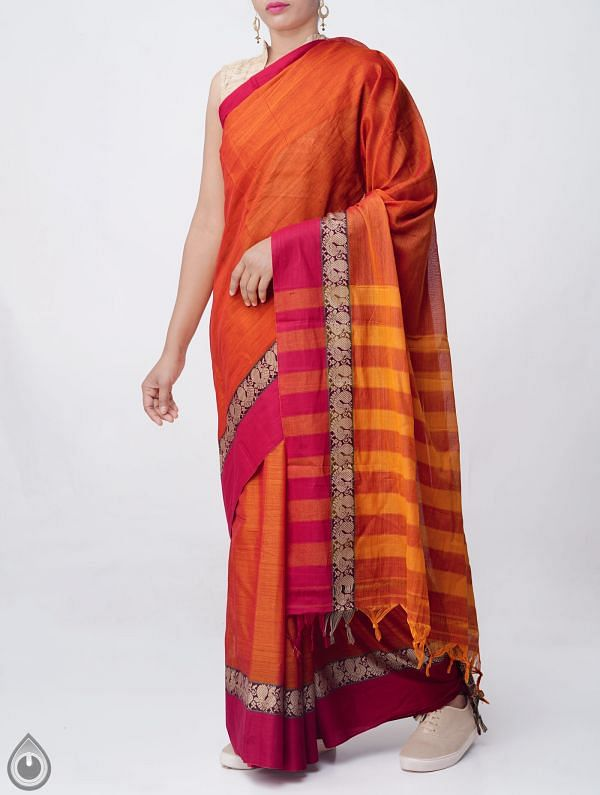 Orange Pure Handloom Narayanpet Cotton Saree with Tassels -UNM37640