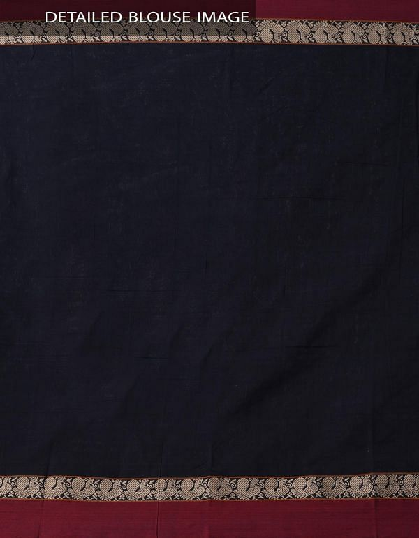 Black Pure Handloom Narayanpet Cotton Saree with Tassels -UNM37644