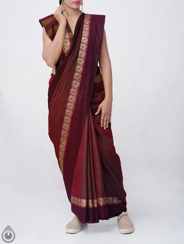 Online Shopping for Green-Red Pure Handloom Narayanpet Cotton Saree with Tassels with Weaving from  Andhra Pradesh at Unnatisilks.comIndia