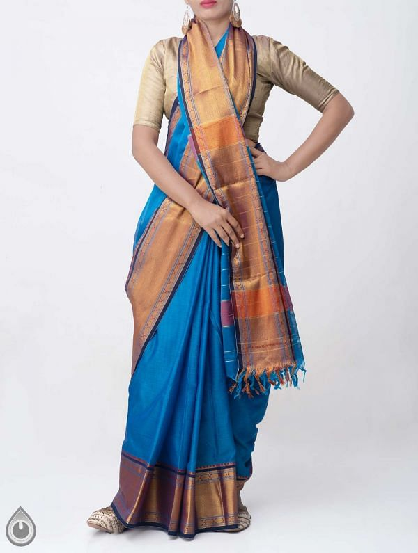 Blue Pure Handloom Narayanpet Cotton Saree with Tassels -UNM37647