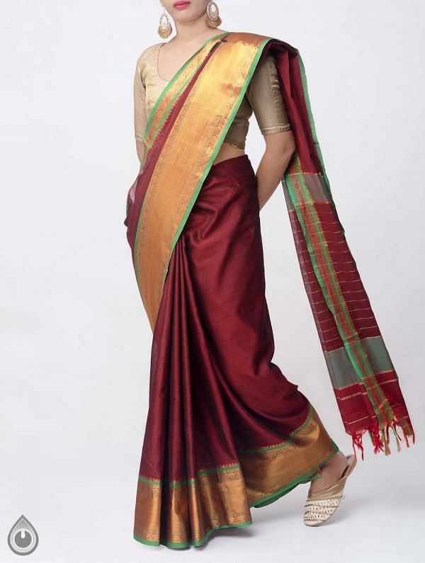 Maroon Pure Handloom Narayanpet Cotton Saree with Tassels -UNM37651
