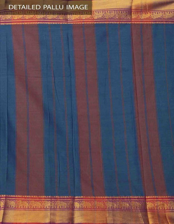 Blue-Green Pure Handloom Narayanpet Cotton Saree with Tassels-UNM37656