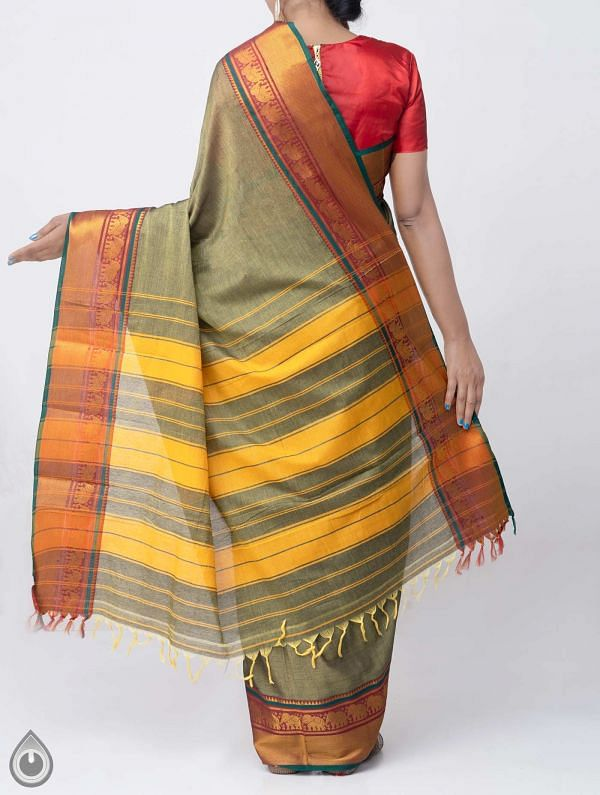 Green Pure Handloom Narayanpet Cotton Saree with Tassels-UNM37659