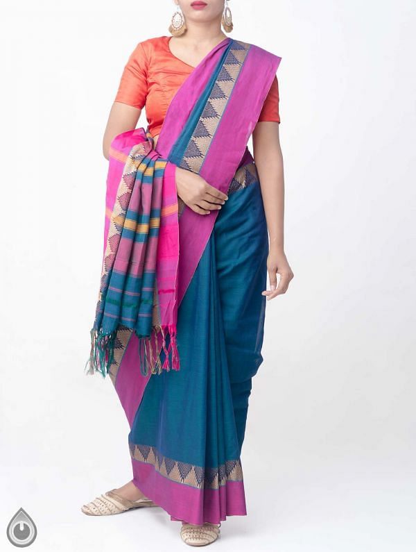 Online Shopping for Blue-Green Pure Handloom Narayanpet Cotton Saree with Tassels with Weaving from Andhra Pradesh at Unnatisilks.comIndia