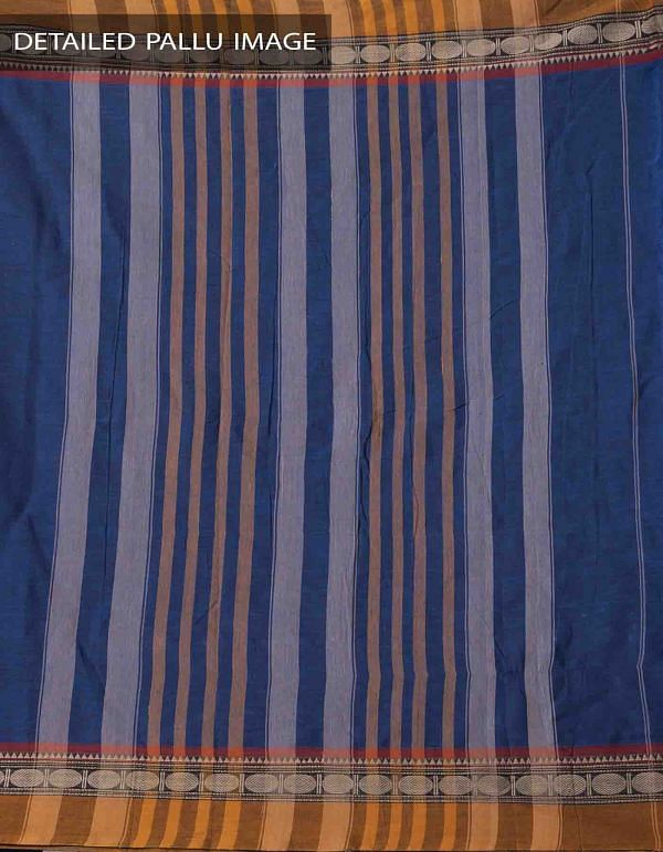 Blue Pure Handloom Narayanpet Cotton Saree with Tassels -UNM37670